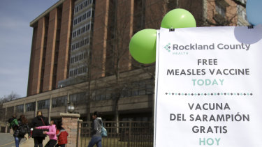 Free measles vaccines available at the Rockland health department in New York.