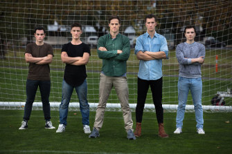 From left to right, Liam Dodds, Mikey Halcrow, Stephen Mahy, Sam Ward and Nigel Huckle in The Beautiful Game.