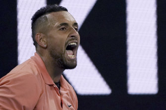 Australia's Nick Kyrgios dominated parts of his match against Gilles Simon but still had the crowd nervous at times.
