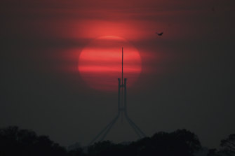 Sunrise over Parliament House in Canberra on Tuesday morning.