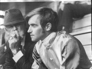 Trainer Jim Barker (left) was a brutal taskmaster, as jockey Des Lake (right) discovered.