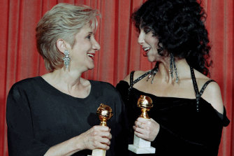 Olympia Dukakis and Cher pictured after their Golden Globe wins in 1988, for performances in Moonstruck.