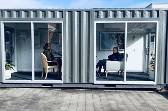 The converted shipping container that allows residents at MACS to have visitors separated by a glass partition.