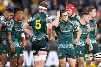 The Wallabies look on after their draw agains Argentina in December last year.