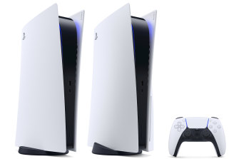 The PlayStation 5 Digital Edition, standard PS5 and DualSense controller.