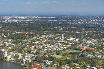 Toowong's Perrin Park precinct, seen in the right foreground, is one of two proposed sites for a new primary school for inner-west Brisbane.