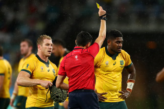Naisarani is shown a yellow card during the Group D game between Australia and Georgia.