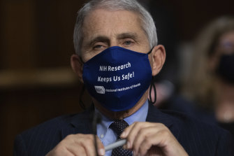 Dr. Anthony Fauci, director of the National Institute of Allergy and Infectious Diseases at the US National Institutes of Health, listens during a Senate hearing in September.