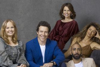 The cast of <i>Five Bedrooms</i>: Katie Robertson, Stephen Peacocke, Kat Stewart, Doris Younane and Roy Joseph.