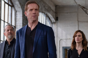 David Costabile, Damian Lewis and Maggie Siff in the new season of Billions.