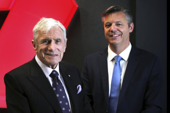 Seven West Media chairman Kerry Stokes, left, with chief executive James Warburton.