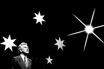 Bob Hawke on stage at the Sydney Opera House for the Labor Party campaign launch on June 23, 1987.