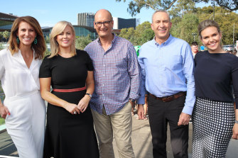 Team Sunrise: Natalie Barr, Samantha Armytage, David Koch, Mark Beretta and Edwina Bartholomew.