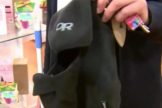 A balaclava left behind after the robbery.