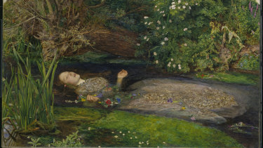 John Everett Millais, Ophelia, 1851-52, oil on canvas, 76.2cm x 111.8cm. Presented by Sir Henry Tate, 1894. Tate.