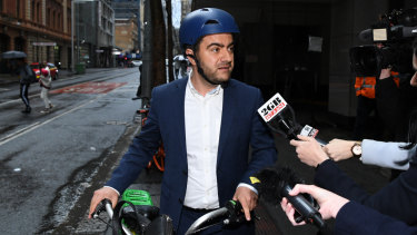 Sam Dastyari leaves the ICAC in Sydney last month.