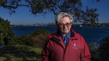 Director George Miller at Green Point,  next to one of the contested National Parks and Wildlife cottages above Camp Cove.