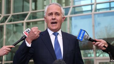 Malcolm Turnbull announces he is challenging Tony Abbott for the leadership at a press conference at Parliament House in Canberra in 2015.