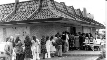 People queuing outside the McDonald's in Weston Creek, ACT, in 1979.