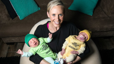 Shock call-up: Renae Ingles with twins Milla and Jacob in 2016.