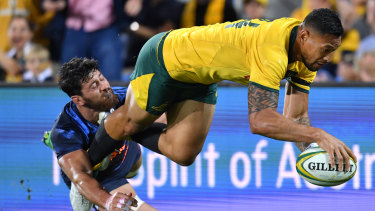Slick finish: Folau scores in his comeback from an ankle injury on the wing.