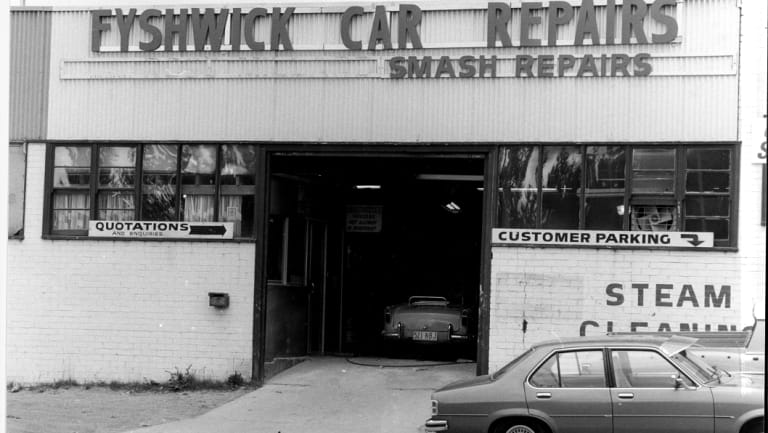 Smash repair and mechanics dominated Fyshwick during the early days, such as this one in Ipswich Street in 1979.