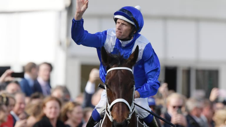 Final Sydney salute: Hugh Bowman acknowledges the crowd coming back on Winx on Saturday