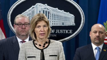 FBI Executive Assistant Director Amy Hess speaks during a news conference announcing the indictment of the Iranian hackers.