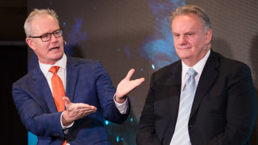 Former Liberal member Ross Cameron and NSW One Nation leader Mark Latham at the conference in Sydney.