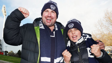 Show of support: Cats fans arrive at the MCG before the first qualifying final against the Magpies on Friday night.