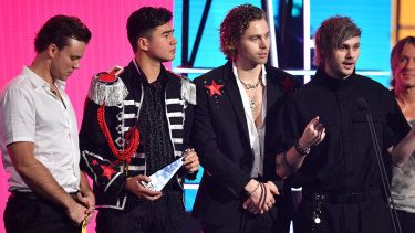 5 Seconds of Summer accepting the ARIA for Best Australian Live Act in November.
