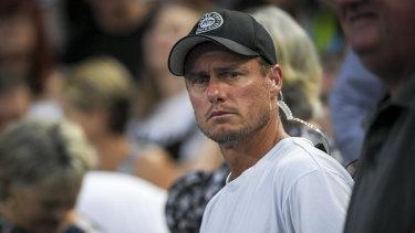 Lleyton Hewitt in the crowd during the match between Alex de Minaur of Australia and Henri Laaksonen on Wednesday.