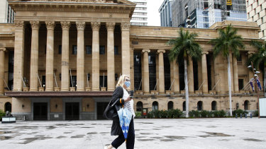 King George Square in Brisbane's CBD was virtually empty during lockdown.