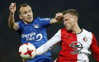 New Bull: Andre Fomitschow (left) playing for NEC Nijmegen.
