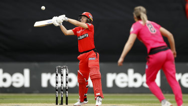 Good touch: Georgie Wareham battled bravely at the crease for the Renegades.