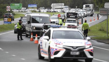 Queues of vehicles at the Queensland-New South Wales border checkpoint in Coolangatta on the Gold Coast on Monday, December 21.