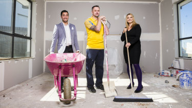 Former big brother contestant Jason Roses, store manager of Ikea Canberra Sean Howell, and  raize the roof co-founder Danielle Dal Cortivo.