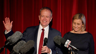 Bill Shorten with Labor's successful candidate for Longman, Susan Lamb, on Saturday night.