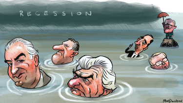 Ghosts of past global shocks: Gough Whitlam, Malcolm Fraser, Bob Hawke, Paul Keating and Kevin Rudd, while Prime Minister Scott Morrison is still afloat. Illustration: Matt Davidson