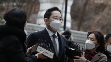 Samsung Electronics Vice Chairman Lee Jae-yong early this year. He was released from prison on parole on Friday.