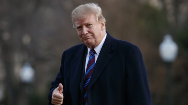 Donald Trump gives the thumbs-up as he returns from his annual physical exam at Walter Reed National Military Medical Center last week.