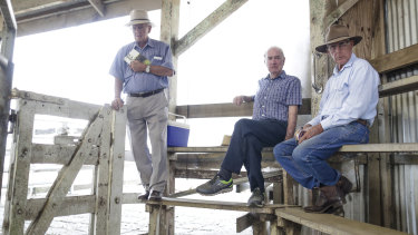 Cattle buyer John Lee, Bindaree Beef Group director John McDonald  and cattle buyer Michael McMahon during cattle sales in Lismore.