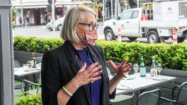 Melbourne lord mayor Sally Capp on Lygon Street in Carlton.