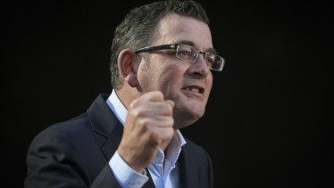 Premier Daniel Andrews speaks on coronavirus restrictions on Friday.