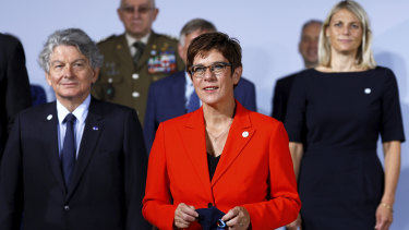 German Defence Minister Annegret Kramp-Karrenbauer [c] with the European Union's defence ministers in August.
