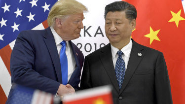Donald Trump and Xi Jinping during the G20 summit in Japan in June.