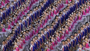Young performers at a mass games ceremony held in Pyongyang on September 9, 2018.