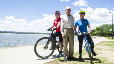 Cyclists from Pedal Power Mark Boast, Richard Bush and Michelle Weston are concerned about overcrowding on lakeside paths.