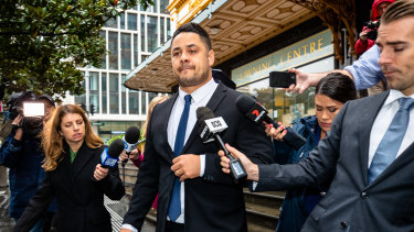 Jarryd Hayne leaves court after being convicted of sexual intercourse without consent.