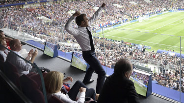 French President Emmanuel Macron reacts during the final match.